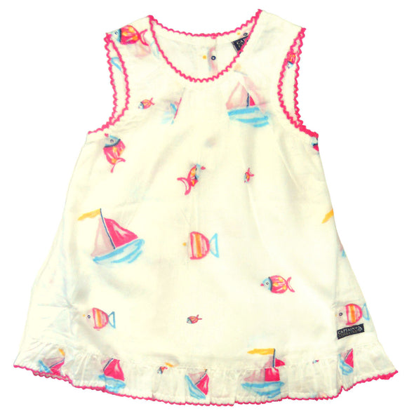 Captain Corsaire Baby Camelia Dress - White / Boat & Fish Print