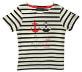 Captain Corsaire Kids 'Cosma' Anchor Print Striped Tee - White / Navy
