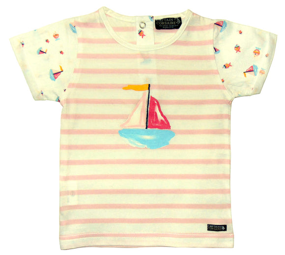 Captain Corsaire Kids 'Julieta' Stripy Tee - White / Pink