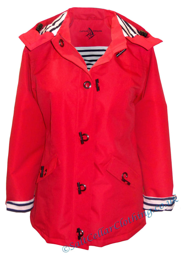 Captain Corsaire Womens 'Clara' Stripy Lined Raincoat - Red