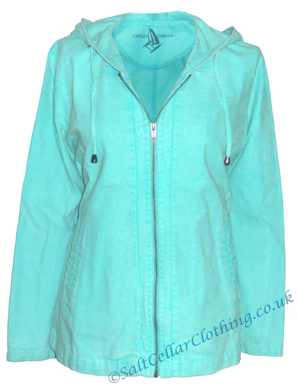 Captain Corsaire Womens 'Abordage' Hooded Canvas Jacket - Lagoon Blue