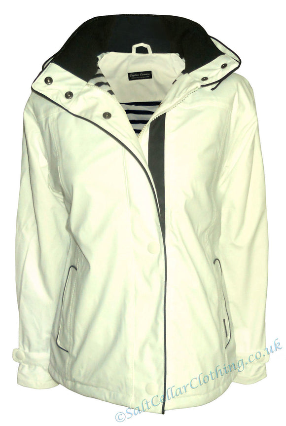Captain Corsaire Womens 'SPI' Stripy Lined Raincoat - White