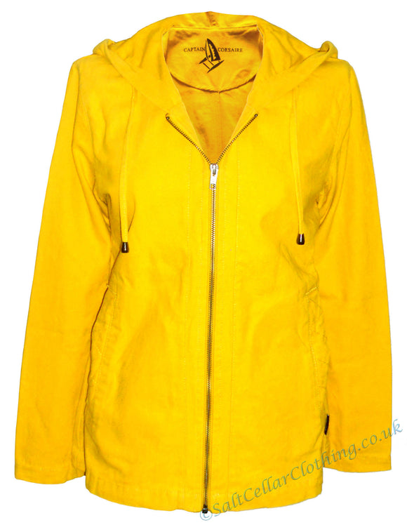 Captain Corsaire Womens 'Abordage' Hooded Canvas Jacket - Yellow