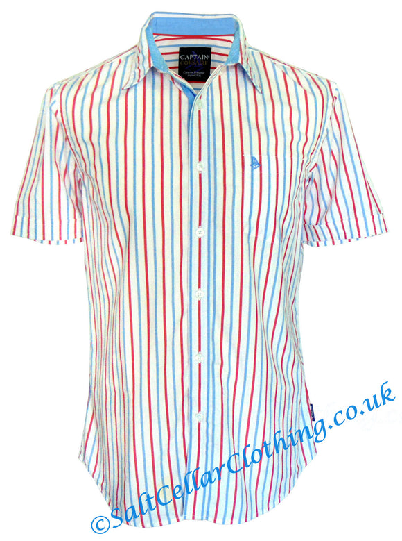 Captain Corsaire Mens 'Miguel MC' Vertical Stripe Shirt - White / Blue / Red