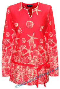 Captain Corsaire Womens 'Mirane' Shell & Starfish Blouse - Bisque Red / Coral