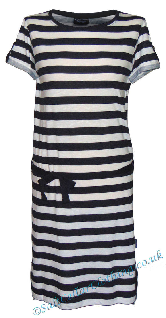 Captain Corsaire Womens 'Ivana' Striped Dress - White / Navy
