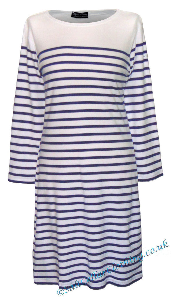 Captain Corsaire Womens 'Ploumanach Robe' Striped Dress - White / Royal Blue
