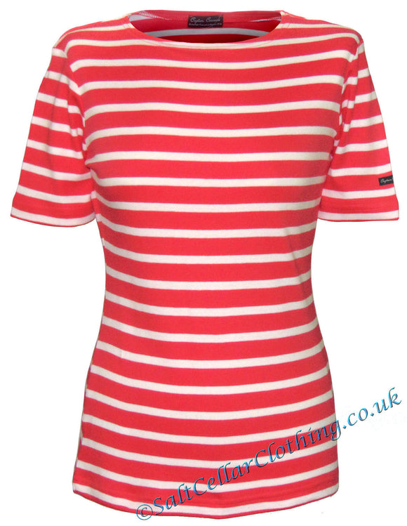 Captain Corsaire Womens 'Fregate MC' Striped Breton Tee - Opaline Red / White