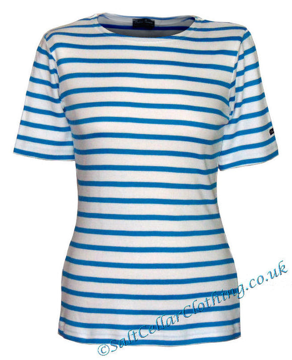 Captain Corsaire Womens 'Fregate MC' Striped Breton Tee - White / Azulli Blue
