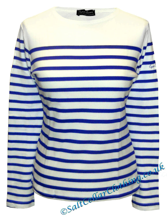 Captain Corsaire Womens Breton 'Ploumanach' Top - White / Royal