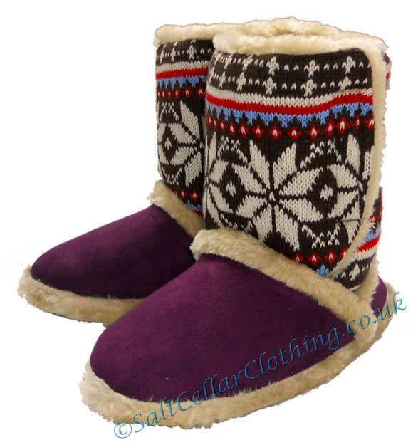 Coolers Womens Snowflake Fluffy Boot Slippers - Purple