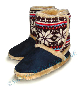 Coolers Womens Snowflake Fluffy Boot Slippers - Navy