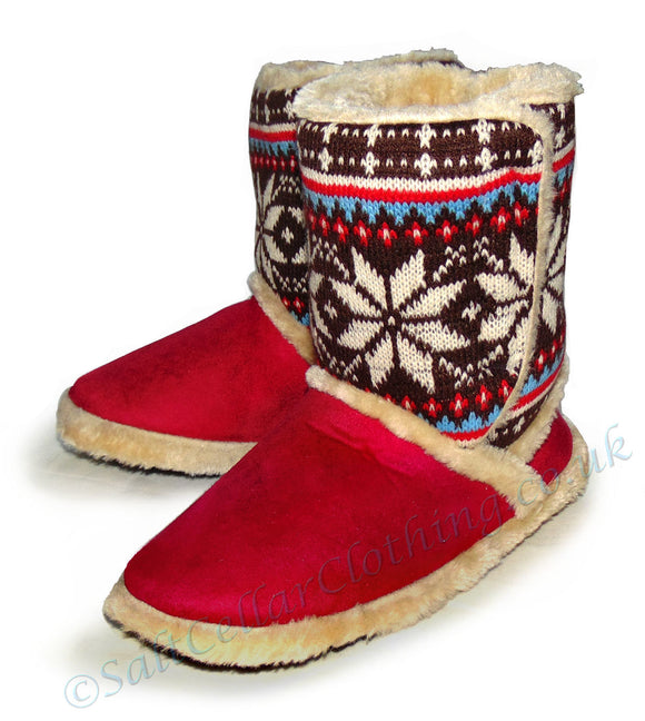 Coolers Womens Snowflake Fluffy Boot Slippers - Red