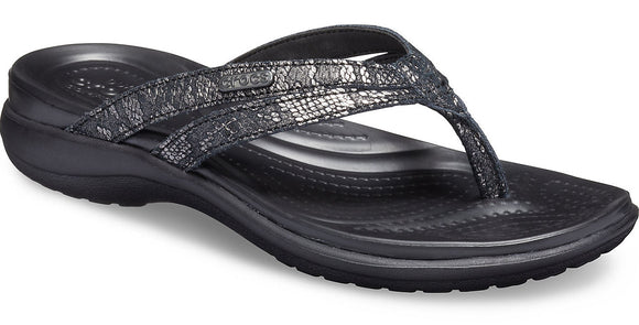 Crocs Womens 'Capri Strappy W' Flip Flops - Black