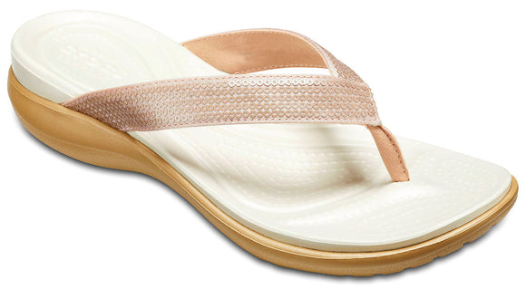 Crocs Womens 'Capri V' Sequin Flip Flops - Rose Gold