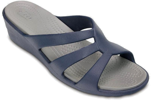 Crocs Womens 'Sanrah' Strappy Wedge Sandals - Navy / Smoke