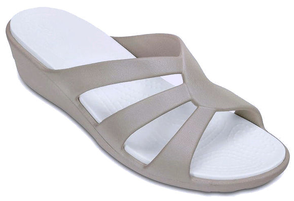 Crocs Womens 'Sanrah' Strappy Wedge Sandals - Platinum