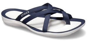 Crocs Womens 'Swiftwater' Webbing Flip Flops - Navy / White