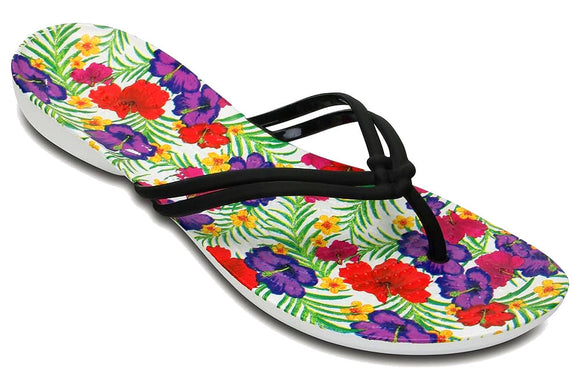 Crocs Womens 'Isabella' Graphic Flip Flops - Floral / Black