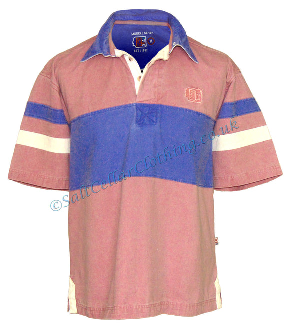Deal Clothing Mens 'AS107' Short-Sleeved Stripe Panel Shirt - Salmon Pink