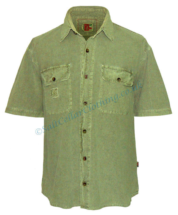 Deal Clothing Mens 'AS101' Short-Sleeved Shirt - Olive Green