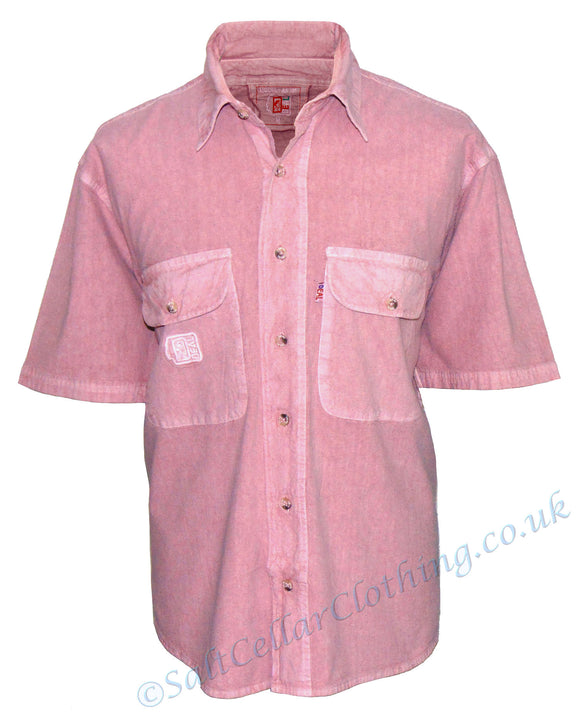 Deal Clothing Mens 'AS101' Short-Sleeved Shirt - Salmon / Dusty Pink