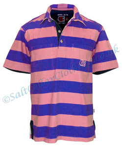 Deal Clothing Mens 'AS116' Short-Sleeved Stripy Shirt - Salmon Pink / Blue