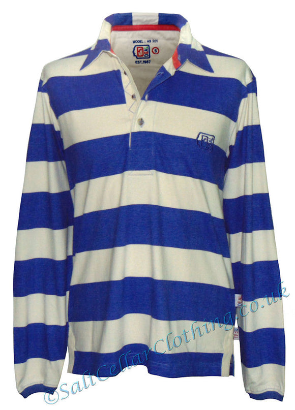 Deal Clothing Mens 'AS201' Long-Sleeved Stripe Shirt - Blue / Natural
