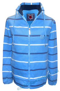 Deal Clothing Mens 'AS245' Stripy Canvas Jacket - Sky Blue