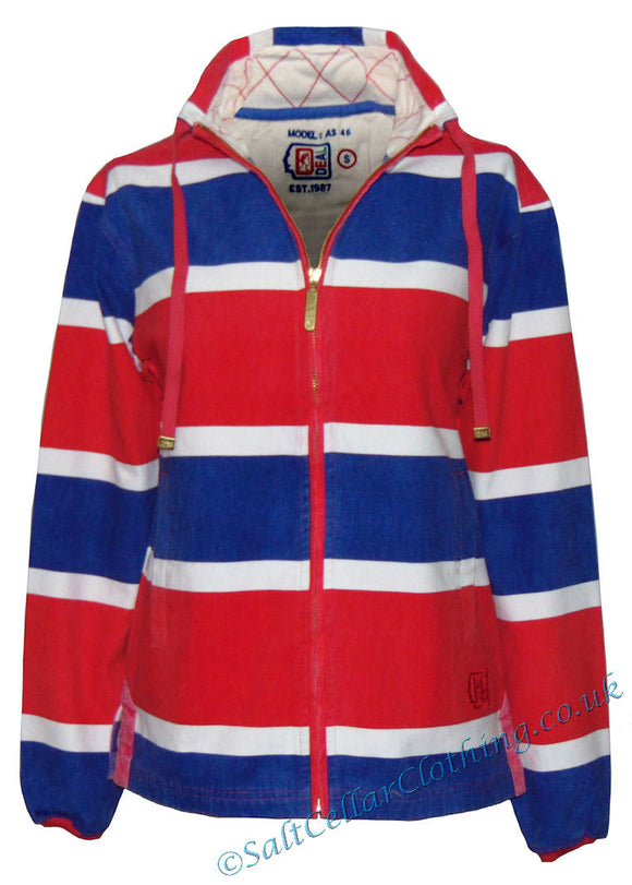 Deal Clothing Womens 'AS46' Stripe Canvas Smock Jacket - Blue, Red, White