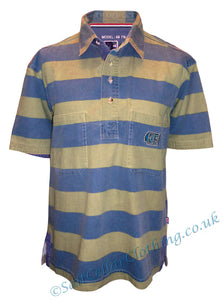 Deal Clothing Mens 'AS116' Short-Sleeved Stripy Shirt - Sand / Blue