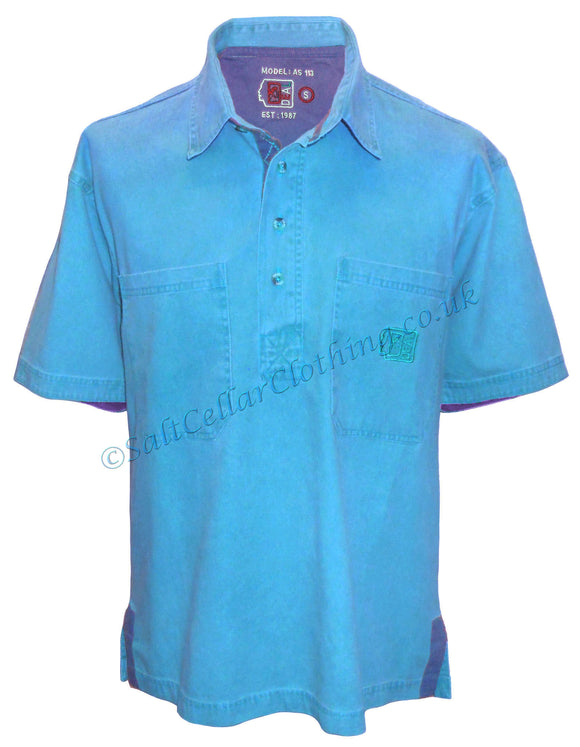 Deal Clothing Mens 'AS113' Short-Sleeved Pullover Shirt - Sky Blue