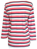 Deal Clothing Womens 'AS17' Ladies Stripy Breton Shirt - Pink / White / Navy