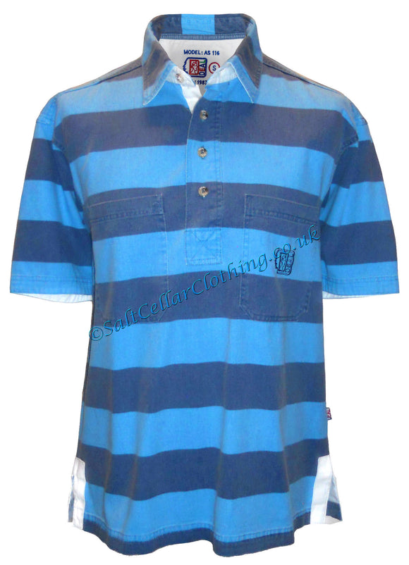 Deal Clothing Mens 'AS116' Short-Sleeved Stripy Shirt - Sky / Blue