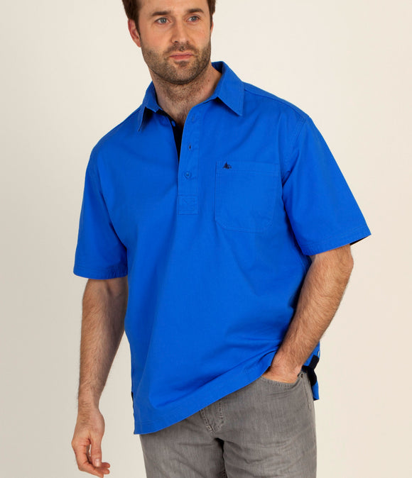 Dock of the Bay Mens 'Kobus' Short Sleeved Shirt - Ocean Blue