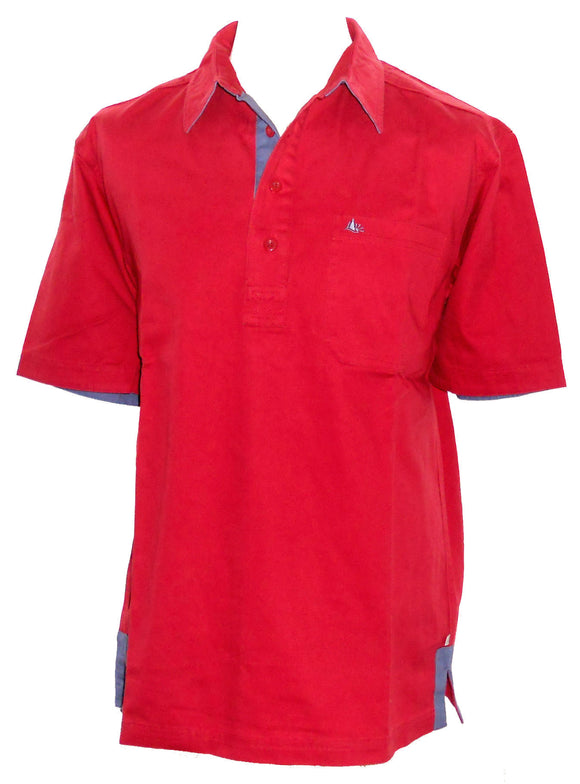 Dock of the Bay Mens 'Kobus' Short Sleeved Shirt - Red