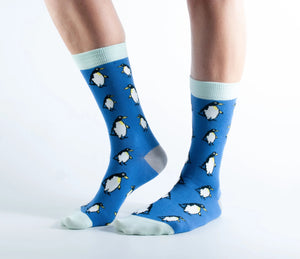 Doris & Dude Womens Bamboo Socks - Blue / Penguin