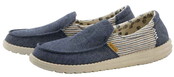 Dude Womens 'Misty' Slip On Canvas Shoes - Blue Barbados