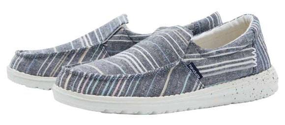 Dude Womens 'Misty' Slip On Canvas Shoes - Chambray Stripes Blue