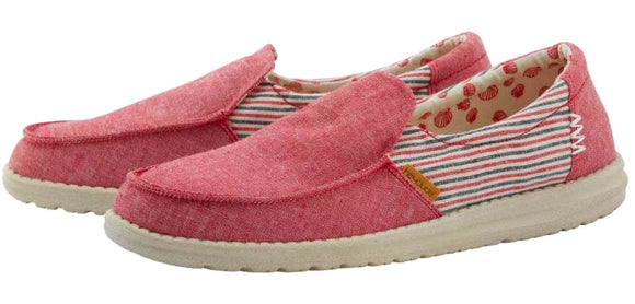 Dude Womens 'Misty' Slip On Canvas Shoes - Red Barbados