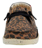 Dude Womens 'Wendy' Lace Up Canvas Shoes - Jungle Brown - Leopard Print