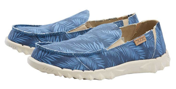 Dude Mens 'Farty Print' Slip On Shoes - Tropical Blue