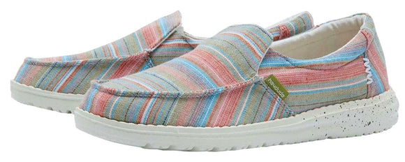 Dude Womens 'Misty' Slip On Canvas Shoes - Chambray Stripes Grass
