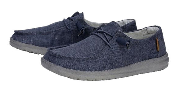Dude Womens 'Wendy' Lace Up Canvas Shoes - Chambray Navy