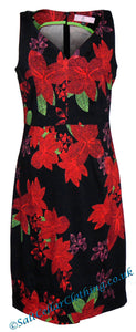 Elise & Clemence Womens Bold Floral Print Dress - Black / Red