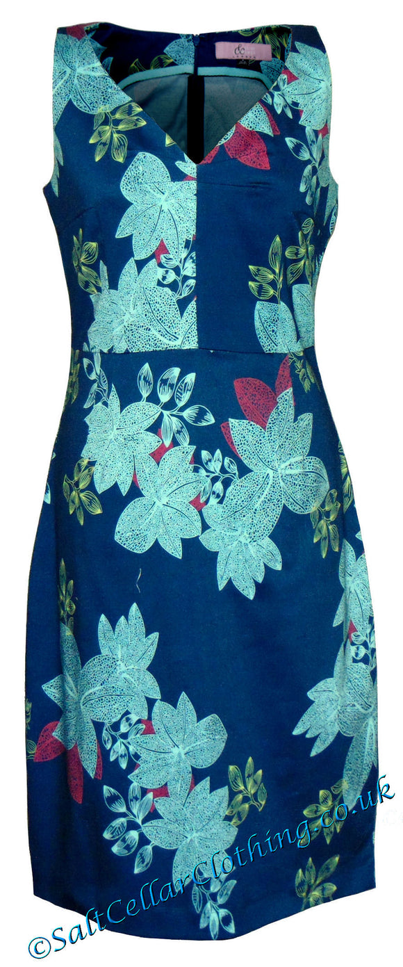 Elise & Clemence Womens Bold Floral Print Dress - Blue
