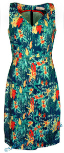 Elise & Clemence Floral Print Dress - Blue / Orange Flowers