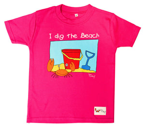 Gone Crabbing Kids 'I Dig the Beach' T-Shirt - Dark Pink