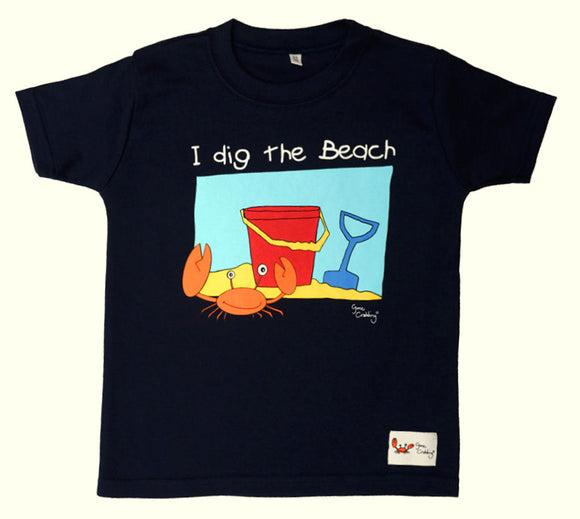 Gone Crabbing Kids 'I Dig the Beach' T-Shirt - Navy