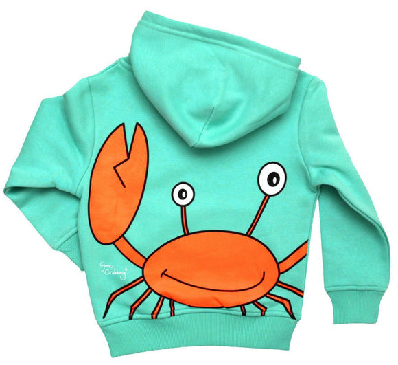 Gone Crabbing Kids 'Totally Clawsome' Hoodie - Turquoise